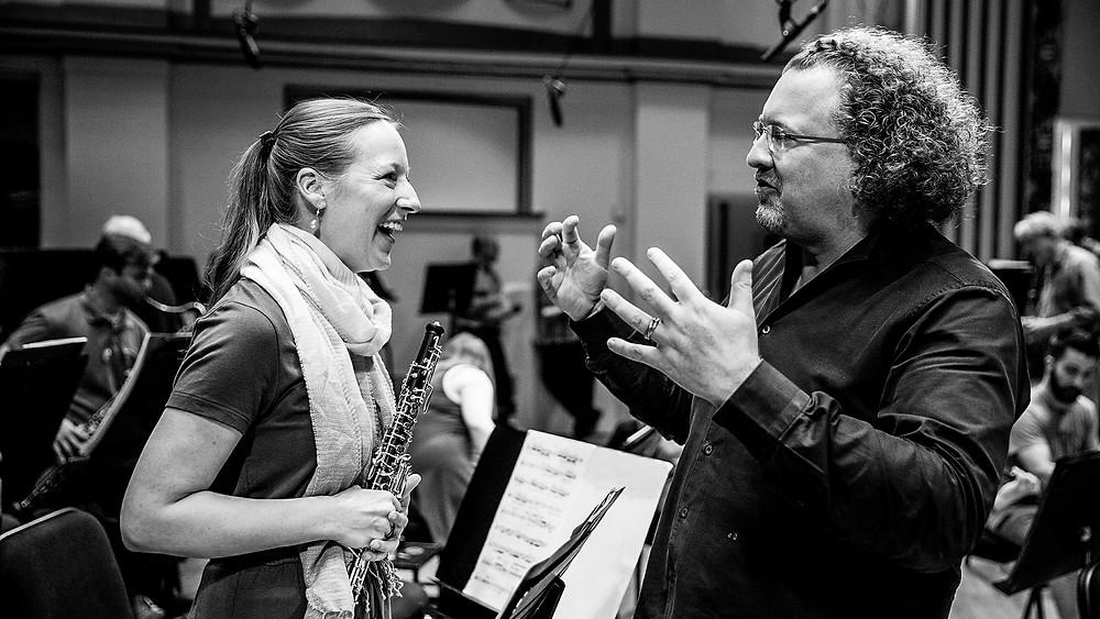 Jelena Dirks and Stéphane Denève in an SLSO rehearsal