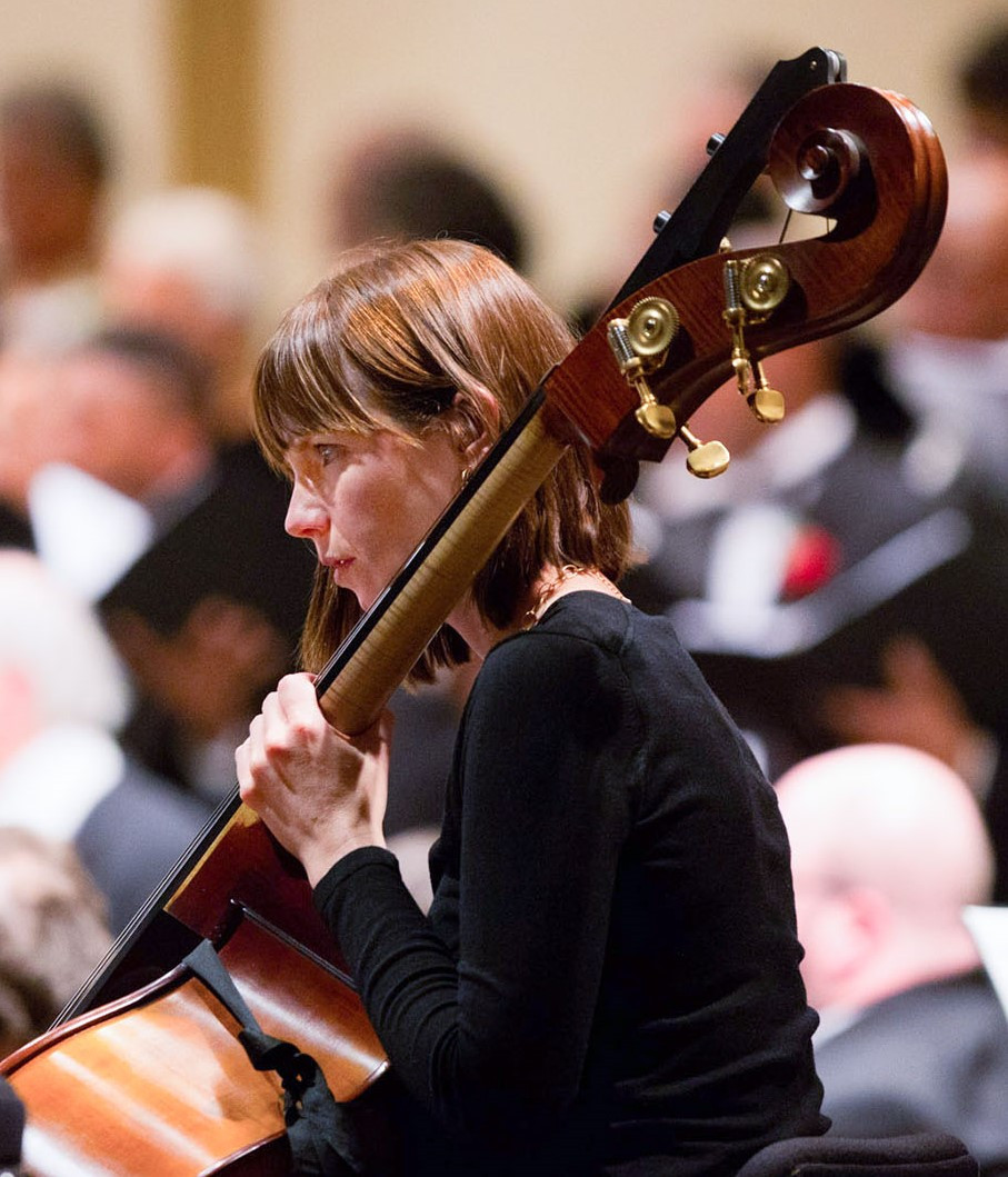 Sarah Hogan Kaiser playing Double Bass during a St. Louis Symphony Orchestra concert