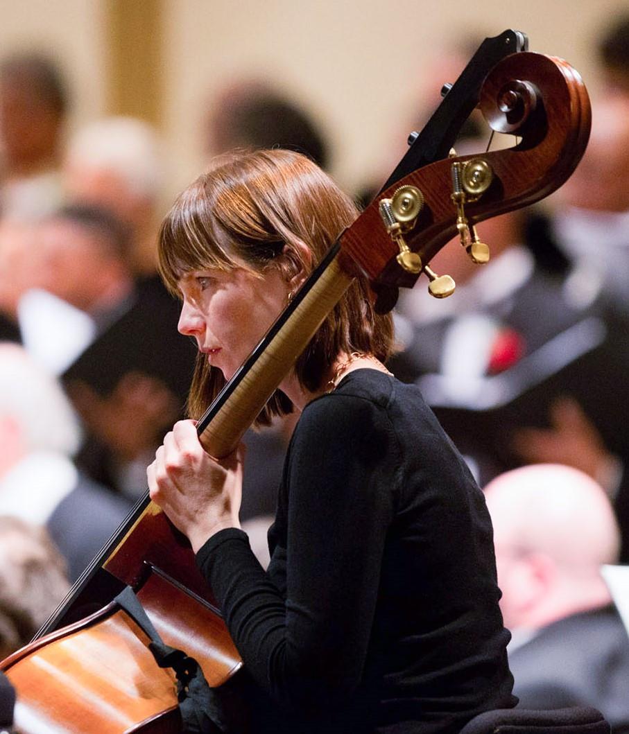 Sarah Hogan Kaiser playing Double Bass during a St. Louis Symphony Orchestra concert
