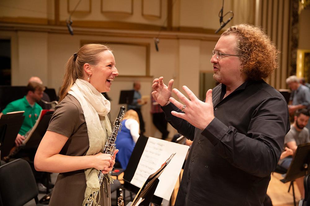 Jelena Dirks and Stephane Deneve SLSO rehearsal backstage