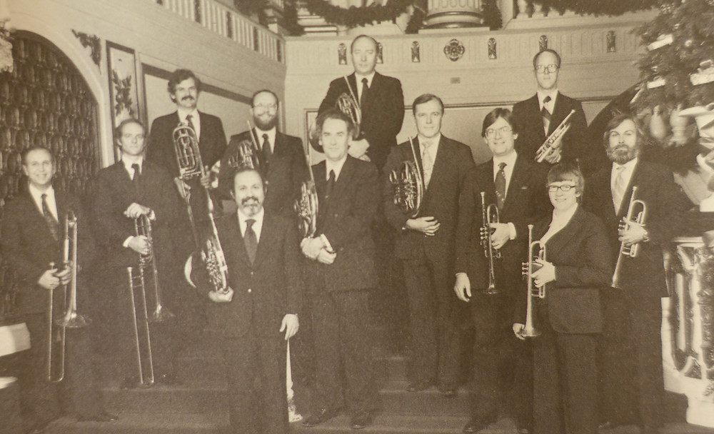 Susan Slaughter (front, far right) with the SLSO brass section in the 1980s