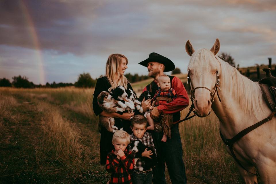 family with rainbow