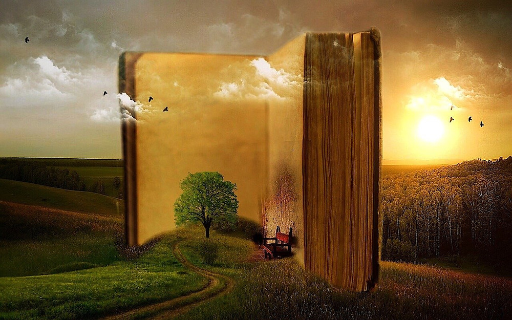 A green field with a growing tree sits outside of a giant book with birds flying over head