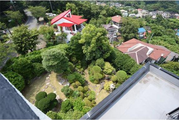 View of garden and Cafe Akai Yane next door
