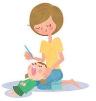 子供の歯磨きをするお母さんのイラスト
