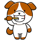 歯を磨く犬イラスト
