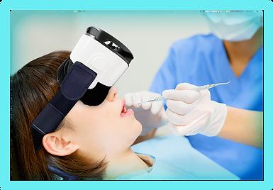 VRをつけて歯の治療をする女性
