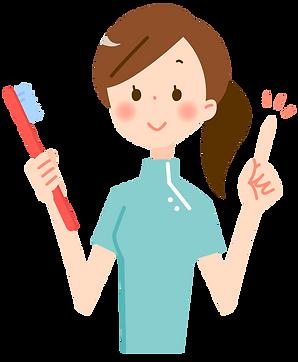 歯ブラシを持つ歯科助手のイラスト