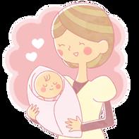 子供を抱くお母さんのイラスト