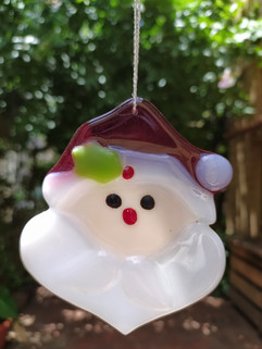 Fused Glass Santa Suncatcher