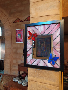 Stained Glass Mirror With 3D Butterflies