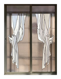 whites and Clear texture Curtain Stained Glass Panel