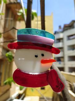 Fused Glass Snowman Suncatcher