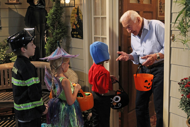 Buzz Aldrin handing out candy