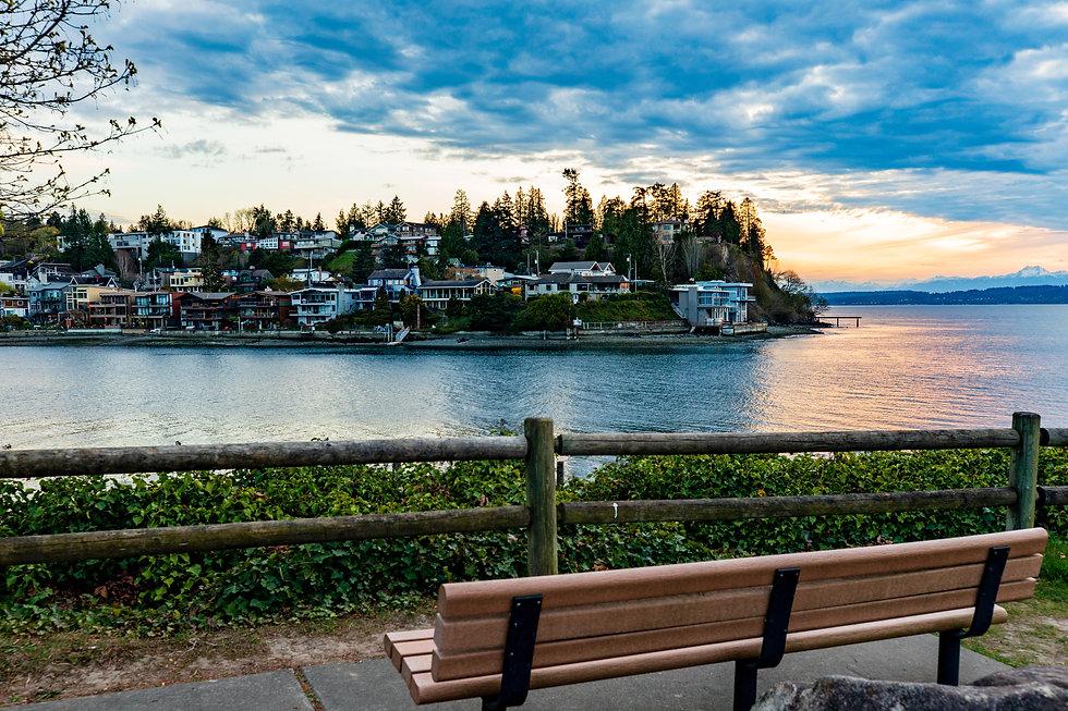 park bench view of Seattle neighborhood