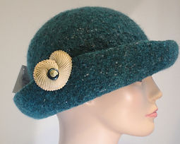 Hand Knitted Felt Hat green with shell