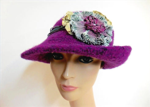Knitted purple -Custom hat collections Seattle