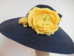 straw hats gray with yellow flower