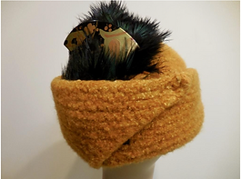 Hand Knitted Felt Hat Brown with feather