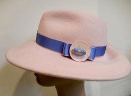 Custom Millinery Blocked Wool Hat pink