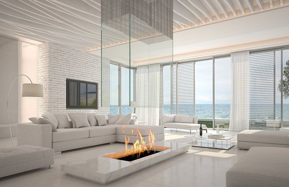 Spacious modern living room availble by Anderson Custom Homes