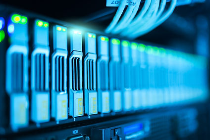 Data Center Decommissions close up of servers; adobe stock image