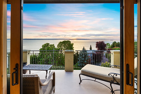 Beautiful view of the Puget Sound from the living room at a home sold by SASH Realty