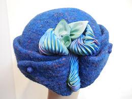 Hand Knitted Felt Hat retro purple