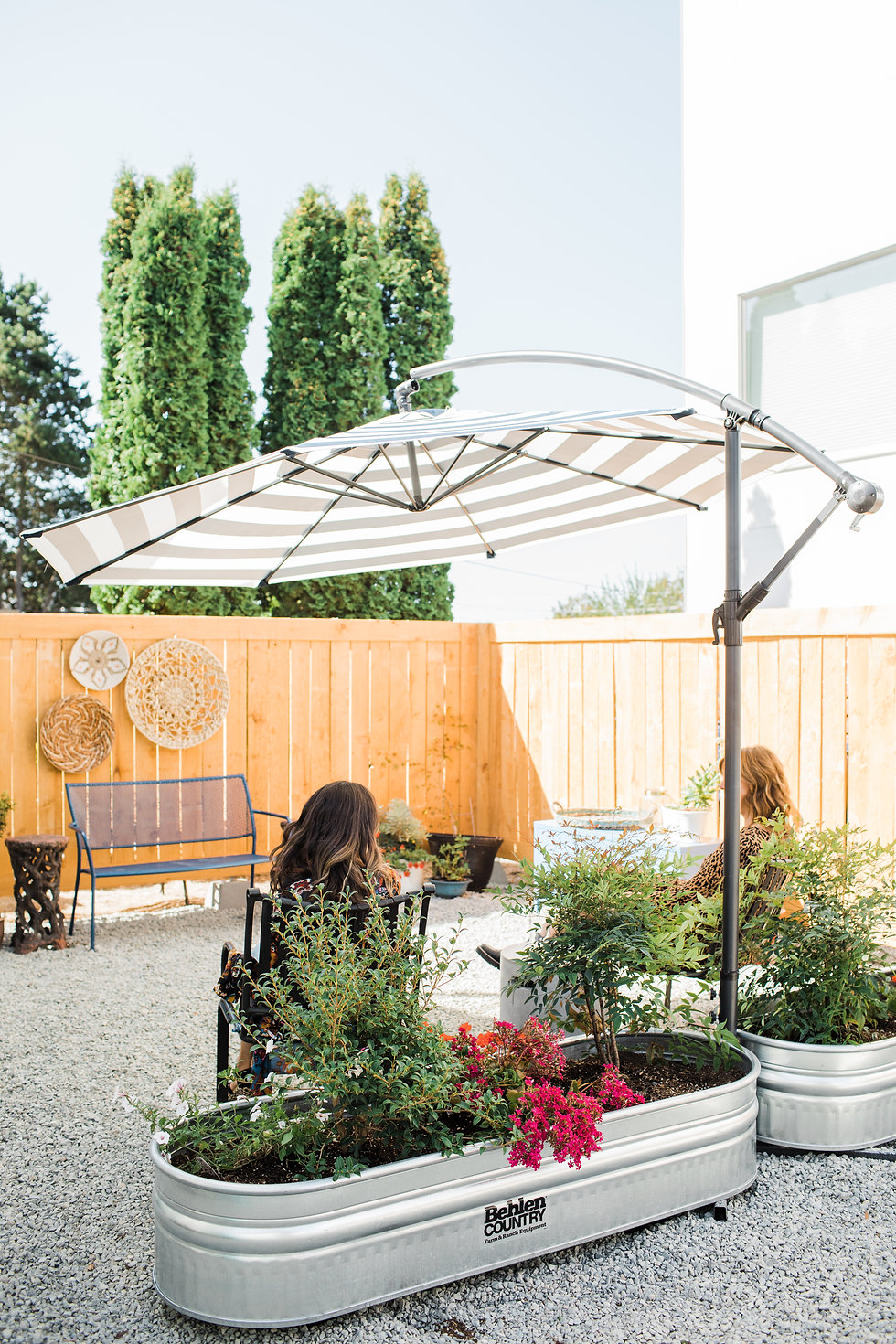 Outdoor seating at La Vie Salon where you can wait while getting your hair styled and colored