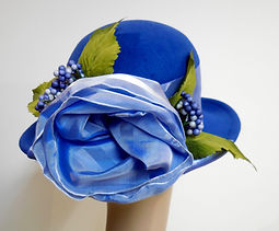Custom Millinery Blocked Wool Hat blue with ribbon