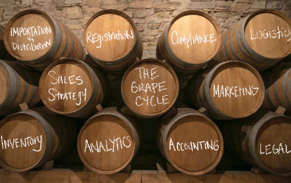 Image of a stack of barrels that outline the many services available at the Grape Cycle from Importation/Distribution to a Sales Strategy