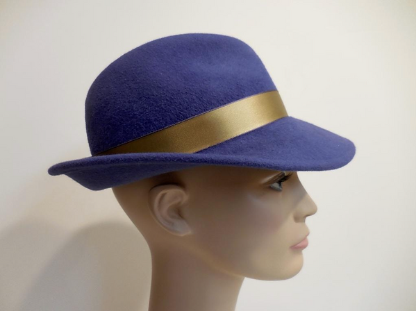 Hand Sculpted Wool Hats purple with gold band