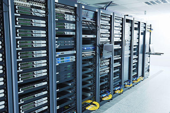 Colocation center IT services large server room; adobe stock image