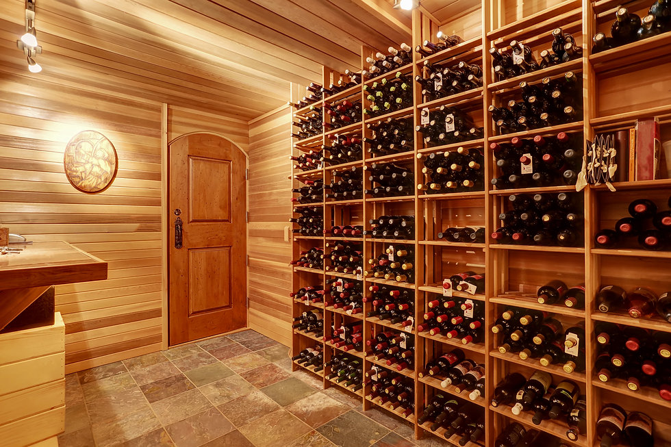 Wine Cellar in high end home designed and built by Anderson Custom Homes