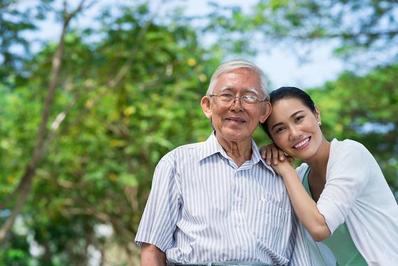 Elderly man and his daughter representing senior services through SASH Realty