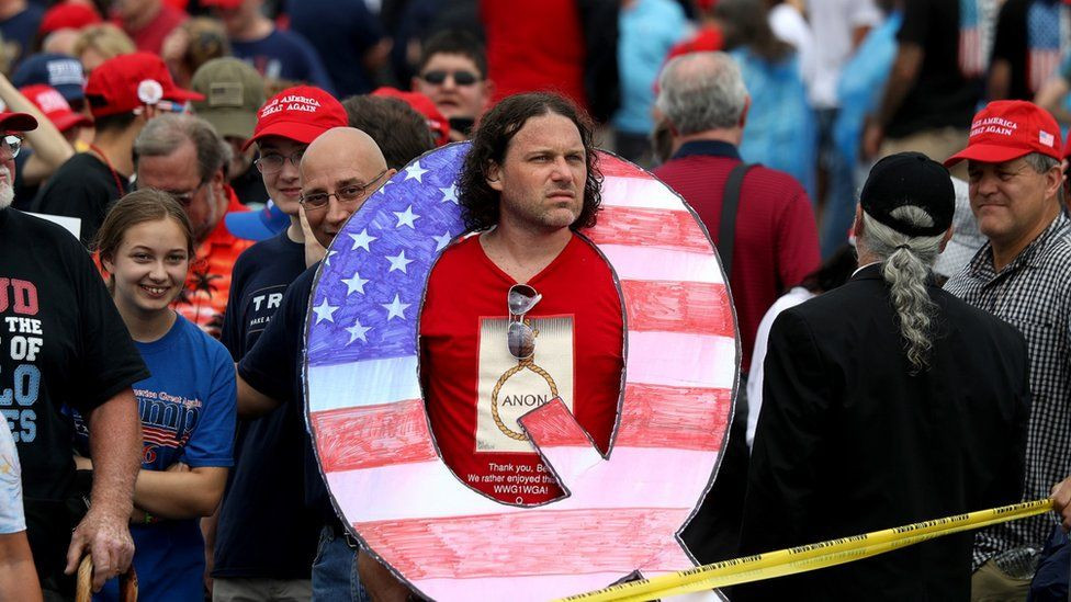 A supporter of Q Anon at a rally for US President Donald Trump