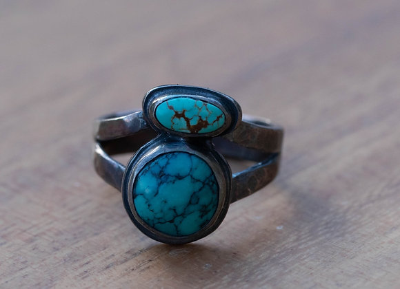 Two Stone Turquoise Ring - Size 8.5