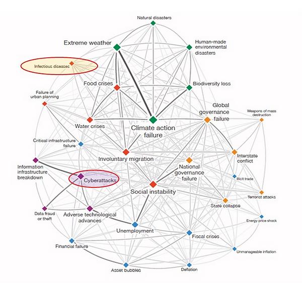 Interconectividade entre os riscos globais. Fonte: 15º Relatório de Riscos Globais do Fórum Mundial 2020