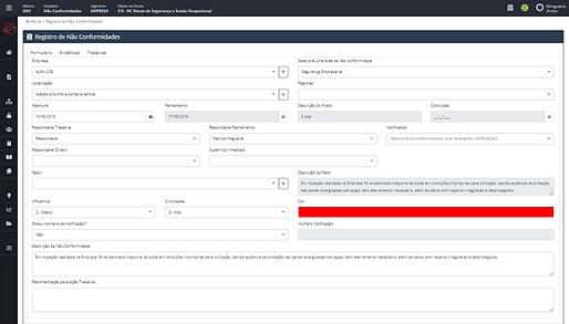 software gestão de conformidades registro