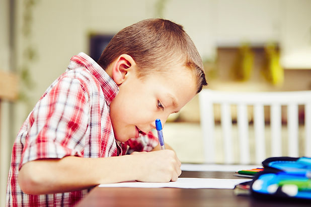 Little boy is doing his homework for ele