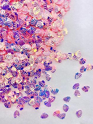 Iridescent pink/purple shells