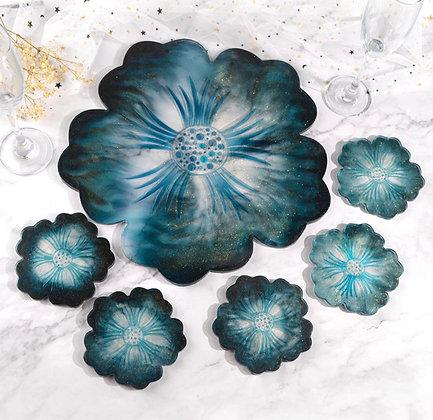 Flowers trays + 3 coasters
