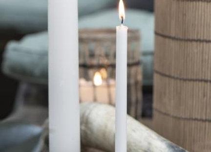 Large White Candle - Set of 2