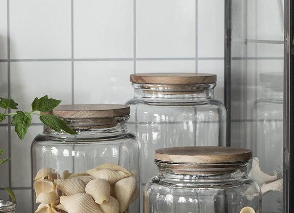 Glass Jar/Vase with wooden lid 3L