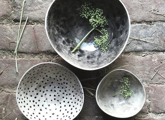 Set of 3 Porcelain Bowls - Grey