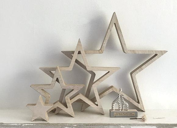 Set of 4 outline stars - Wood, Natural
