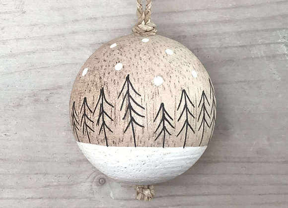 Trio of Small Wooden Baubles