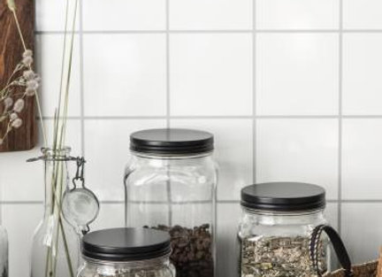 Glass Jar Storage Trio - Black Metal Lid