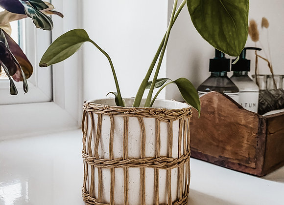 Speckled White & Woven Planter
