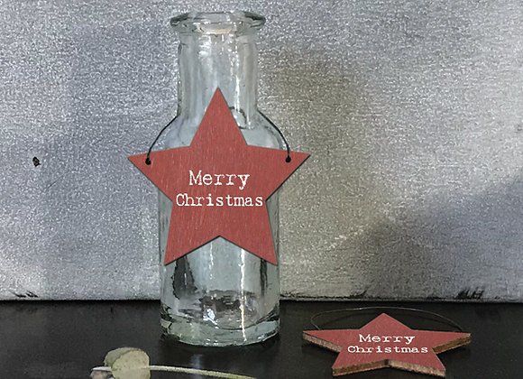 Red Star Tag - Merry Christmas